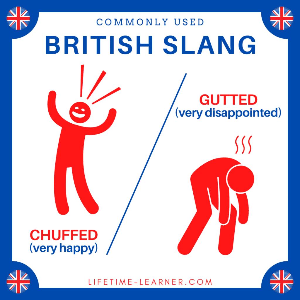 イギリス英語 スラング 嬉しい 残念 Chuffed Gutted