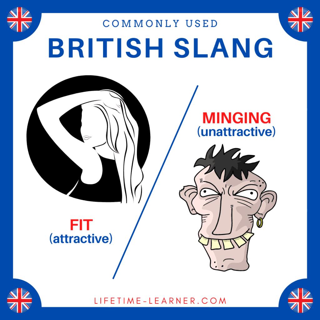 イギリス英語 スラング Fit Minging カッコいい ブサイク カワイイ 美しい
