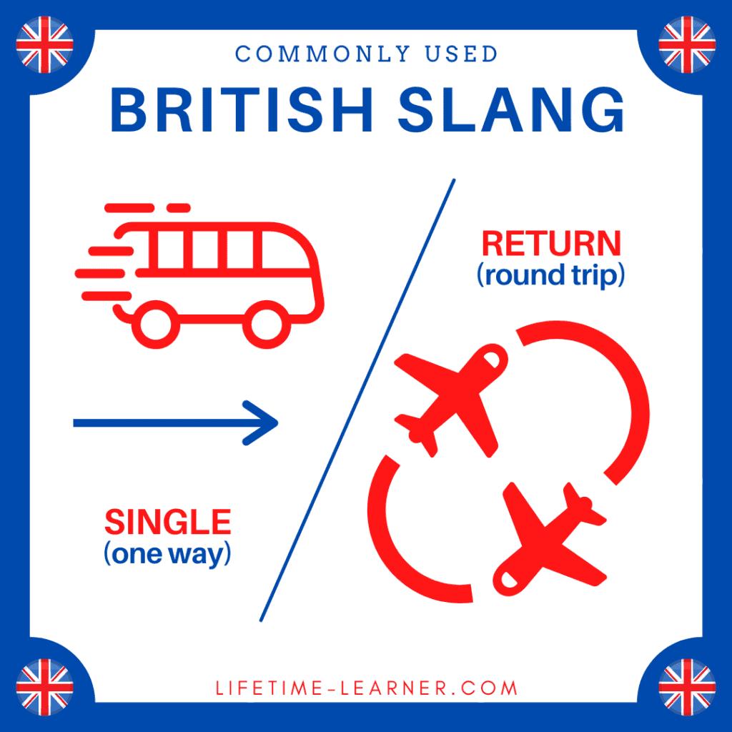 イギリス英語 スラング Single Return 片道 往復