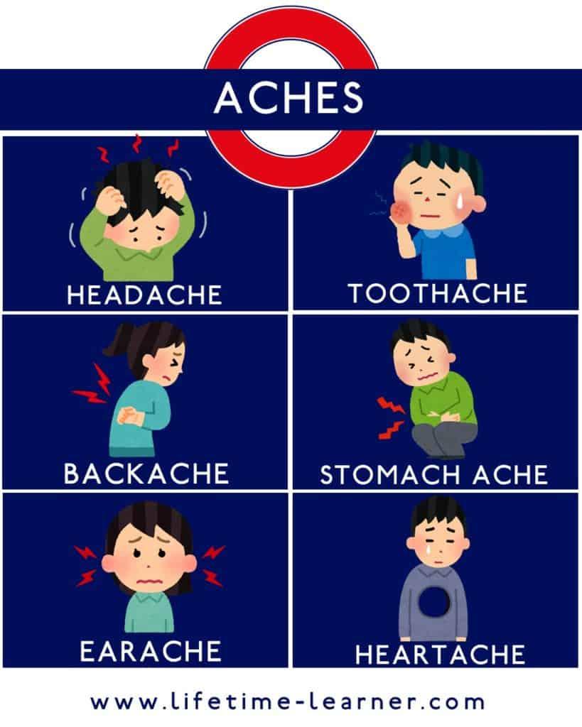 体の痛み 英語