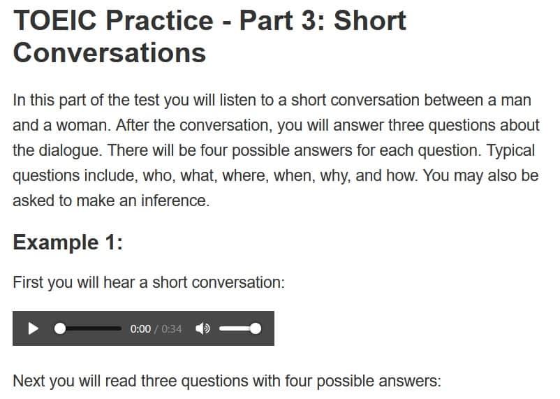 TOEIC part 3 練習問題 模試3