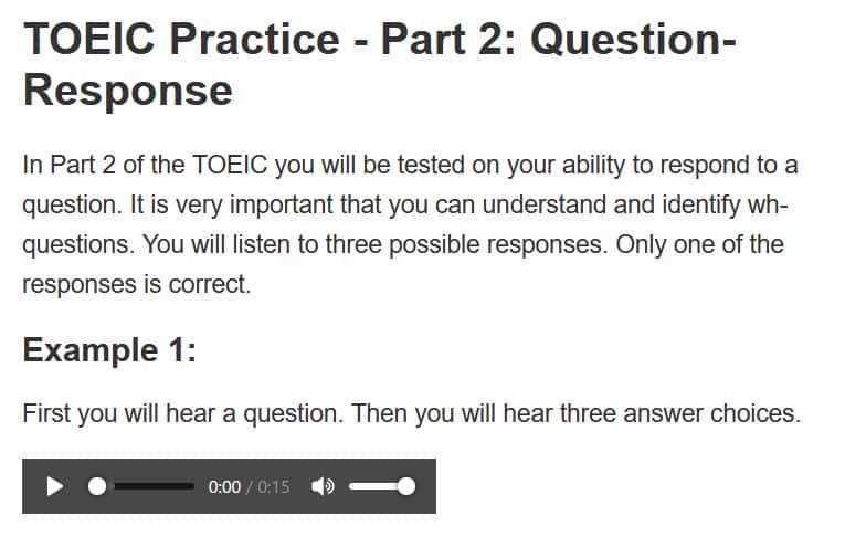 TOEIC part2 サンプル問題2